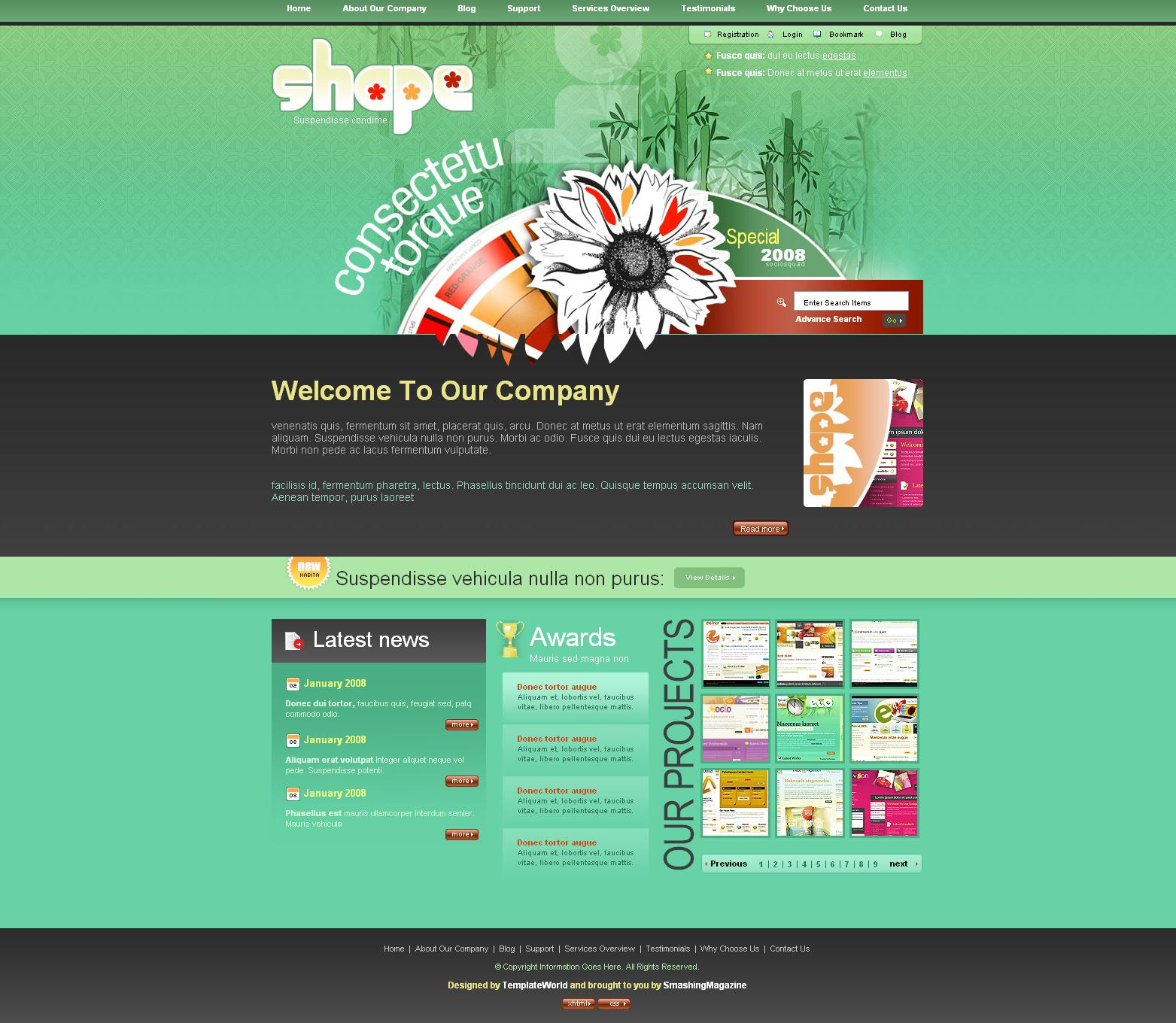 24 psd free website templates - august 2015 edition